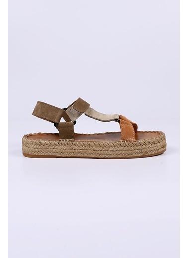 Female Project Turuncu-Bej-Vizon Hakiki Deri Cırtlı Sandalet Siyah